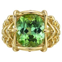 Verdura Mint Tourmaline Basketweave Gold Ring