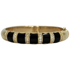 Onyx Gold and Diamond Bangle