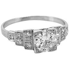 Art Deco .75 Carat Diamond Antique Engagement Ring Platinum