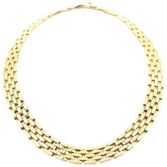 Cartier Panthere 5-Row Yellow Gold Link Necklace Reference # 656035
