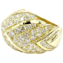 18 Karat Chevron Diamond Ring 5.37 Carat Total Weight