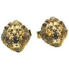 Vintage 14 Karat Yellow Gold Roaring Lion Head Cufflinks