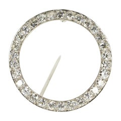 1940s Round Platinum Diamond Brooch