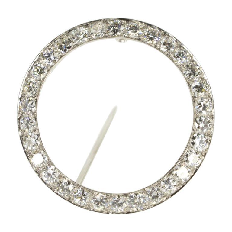 1940s Round Platinum Diamond Brooch