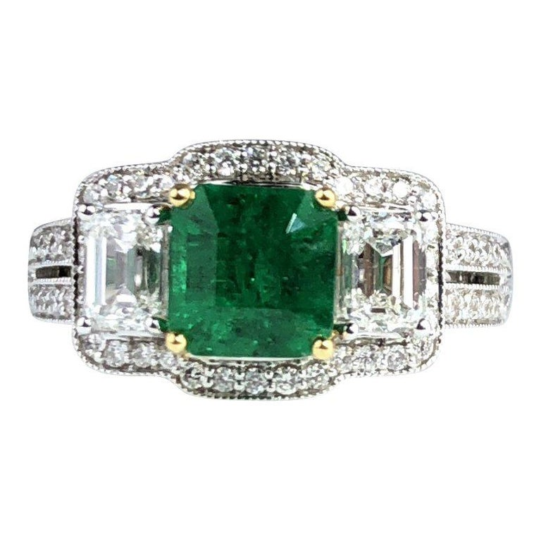 1.10 Carat Emerald and 1.03 Carat Diamond Ring in 18 Karat White Gold For Sale