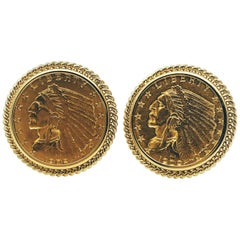 US 14 Karat Yellow Gold Indian Head Half Eagle US Coin Cufflinks