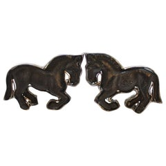 18 Karat White Gold Hand Carved Ebony Horse Cufflinks