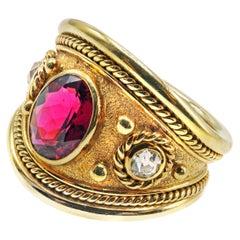 18 Karat Gold Diamond Red Tourmaline Band Ring