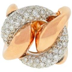 18 Karat Rose Gold Pave Diamond Freeform Rings Approximate 2.32 Carat