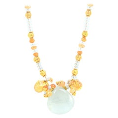 Solid 22 Karat Yellow Gold Genuine Aquamarine and Natural Citrine Necklace 17.1g