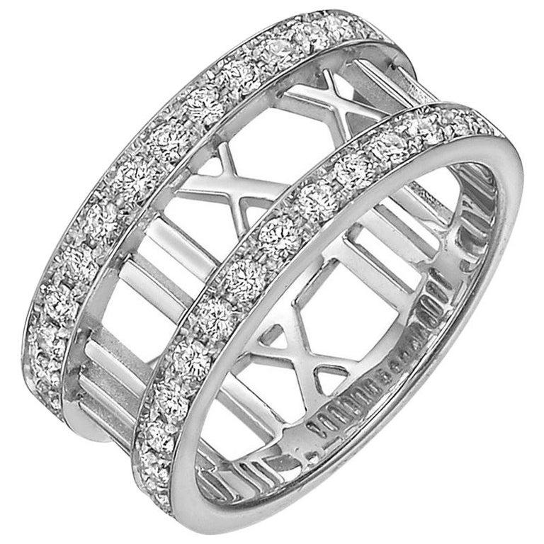 "Tiffany & Co. White Gold Diamond ""Atlas"" Band Ring"