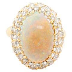 Brilliant Crystal Opal and Diamond Yellow Gold Ring