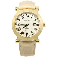 Tiffany & Co. Atlas Yellow Gold Automatic Date Watch with Beige Leather Strap