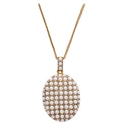 Victorian Seed Pearl and Diamond Locket on Chain