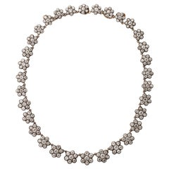 Antique English Floral Cluster Diamond Necklace