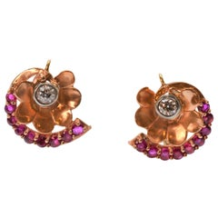 Continental Antique Diamond Ruby 14K Yellow Gold Floral Drop Earrings