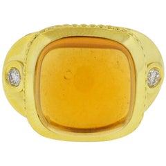 18 Karat Yellow Gold Diamond Cabochon Citrine Approximate .24 Carat Ring