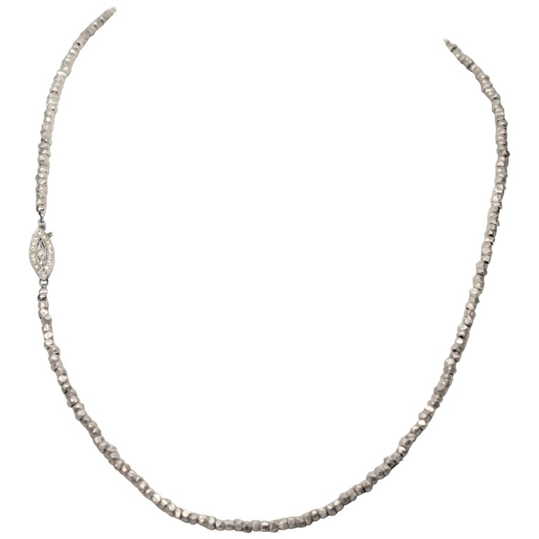 Antique Style Sterling Silver Natural Cut Bead Necklace w Zirconia Clasp