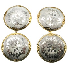 Art Deco Platinum and Gold Round Cufflinks