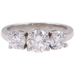 Platinum Diamond Engagement Ring Three-Stone Round 2.09 Carat
