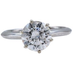 Round Diamond Solitaire Engagement Ring 2.00 Carat I SI2 Set in Platinum