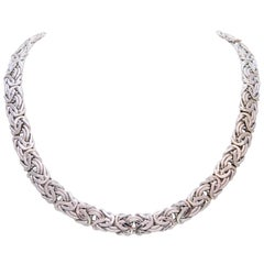 Vintage 14 Karat White Gold Byzantine Necklace