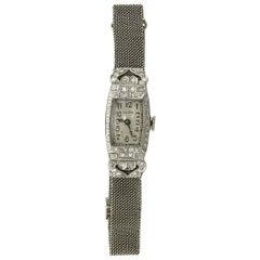 Antique Diamond Elgin Watch Platinum White Gold Thin Mesh Strap Art Deco Quartz