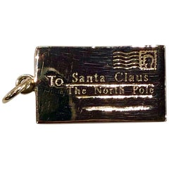 Gold Santa Claus North Pole Charm