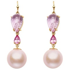 Pink Topaz, Pink Sapphire & Pink Freshwater Pearl Earrings Set in 18kt Gold