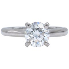 Cartier Platinum Diamond Engagement Ring Round 1.19 Carat G VVS1