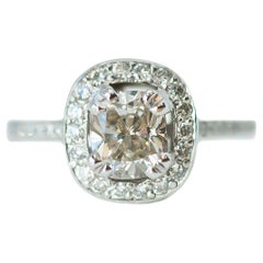 EGL Certified 1.04 Carat Princess Cut Diamond Halo 18 Karat Gold Engagement Ring