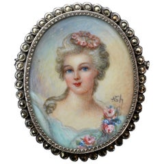 French Portrait of a Lady Cameo Painted Silver Brooch with Marcasite Halo