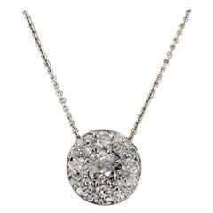 Diamond Pendant Pave 1.15 Carat Total Weight, 14 Karat White, Ben Dannie