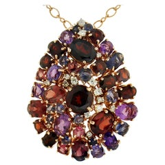 Extraordinary Amethyst Iolite Garnet Diamond 18 Karat Rose Gold Pendant