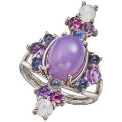 Daria de Koning Holley Agate Chalcedony,Rainbow Moonstone, Amethyst, Iolite Ring
