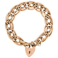 Antique Oval Link Bracelet Edwardian 9 Karat Rose Gold Day Night Heart Padlock