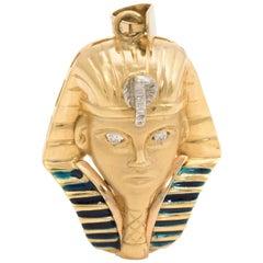 Egyptian Pharaoh Pendant Tutankhamun King Tut Vintage 18k Gold Diamond Estate