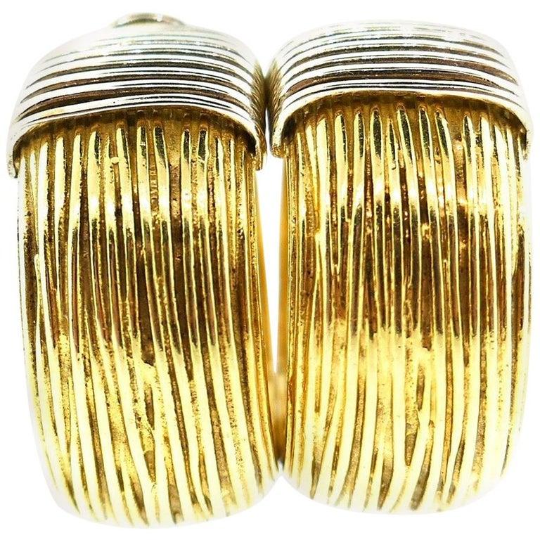 Pomellato 18 Karat Yellow White Gold Hoop Earrings