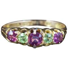 Antique Victorian Suffragette Amethyst Peridot Ring 15 Carat Gold, circa 1900