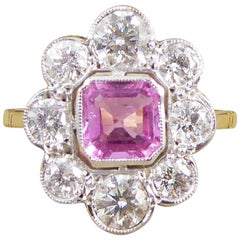 Pink Sapphire and Diamond Engagement 18 Carat Gold Ring