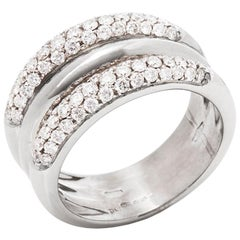David Morris 18 Karat White Gold Round Brilliant Cut Diamond Signature Band