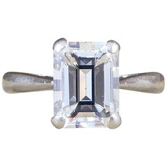 Emerald Cut 1.74 Carat Diamond Engagement Ring in Platinum