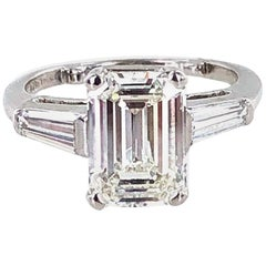 2.57 Carat Emerald Cut Diamond Platinum Modern Engagement Ring GIA Certified