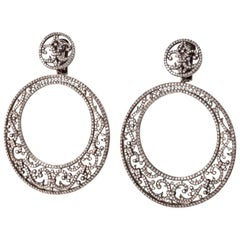 Gold Diamond Lace Cocktail Earrings