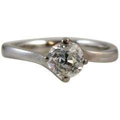 Antique Diamond Ring, Old European Cut, Approximate 0.40 Carat, 18 Carat Gold