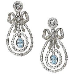 Blue Topaz Diamond and Gold Drop Earrings