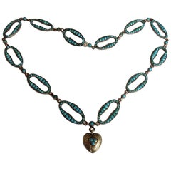 Victorian Pave Turquoise Link Heart Silver Necklace
