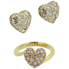 Cartier Diamond Heart Shape Earrings and Ring in 18 Carat Yellow Gold Pave Set