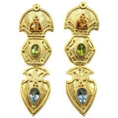 Dangling 18 Karat Gold Aquamarine Peridot Citrine Earrings