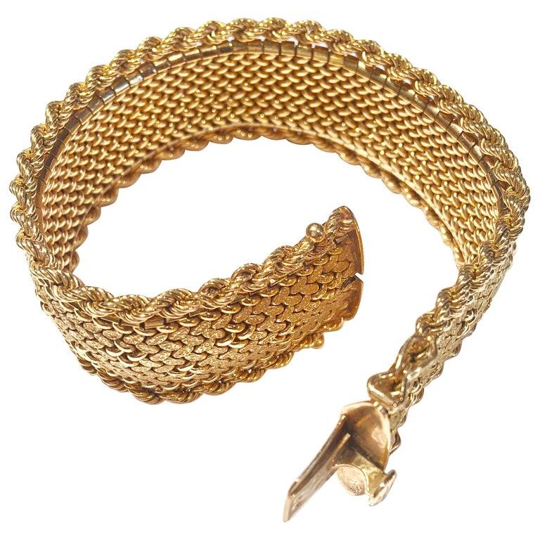 French Vintage 18 Karat Yellow Gold Flexible Cuff Bracelet